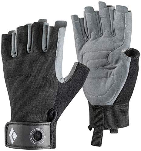 Black Diamond Crag Half Finger Gloves - Guantes de Escalada, Via Ferrata y Entrenamiento (XL, Negro)